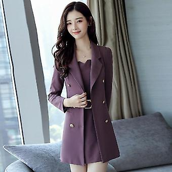 Autumn Business Suit Elegant Office Dress Lady 2 Pieces Set Long Sleeve Blazer