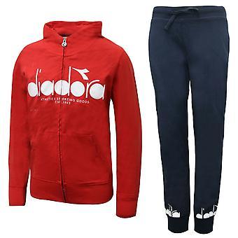Diadora Junior Sweat Suit Tracksuit Top Joggers Pants Red 173969 45033 A80E