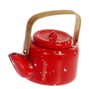 Casa de muñecas miniatura 1:12 escala cocina accesorio metal rojo manchado Kettle