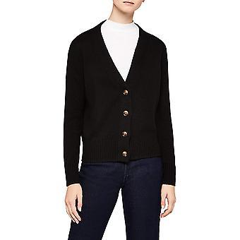 Meraki Women's Boxy V-Neck Cardigan Sweater,  Black, EU XS (US 0-2)