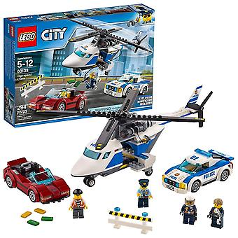 Lego 60138 city police high-speed chase playset, helicopter toy and sports car, crook's escape set f