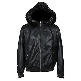 Fargo men's silver fox fur hooded leather jacket