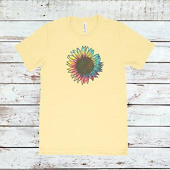 Tie Dyed Sunflower Retro Vintage Triblend Tee