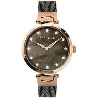 Accurist 8307 Současné růžové zlato & hnědé dámské mesh hodinky