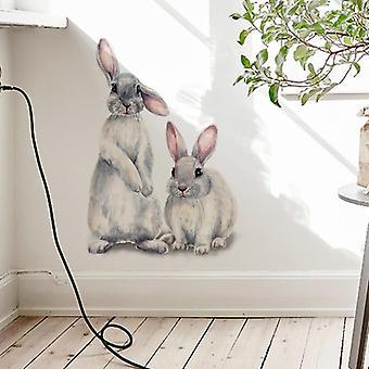 اثنين لطيف الأرانب، الجدار ملصقا للغرفة، جدارية الأرنب خلفية