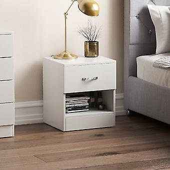Riano 1 Drawer Bedside Chest Cabinet, White