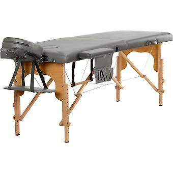Mesa de massagem de madeira - 2 peças - cinza - dobrável