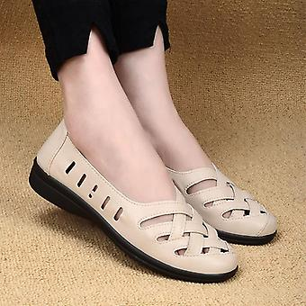 Beige Breathable Genuine Leather Flat