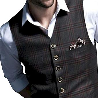 Allthemen Men's Single-breasted Checkered Slim-fit Formal Suit Vest Casual Waistcoat