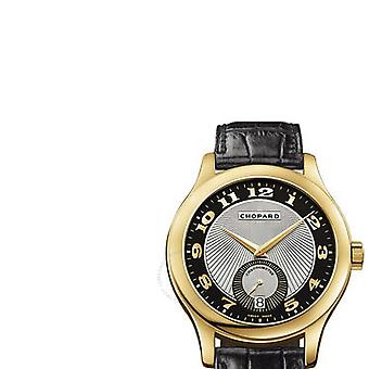 Chopard L.U.C. Classic Black and Silver Guilloche Automatic 18 kt Yellow Gold Men's Watch 161905-0001