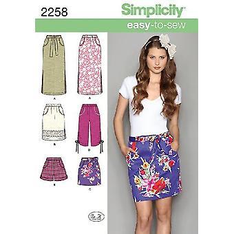 Yksinkertaisuus Ompelu kuvio 2258 Missit Helppo ommella Hameet Shortsit Koko 14-22 R5