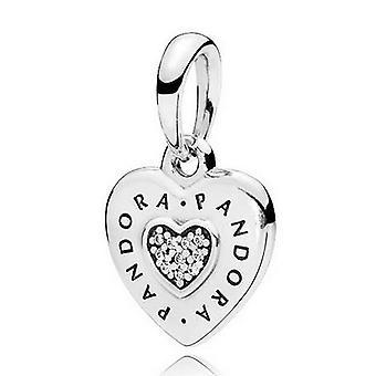 PANDORA Signature Heart Pendant - Clear CZ - 397376CZ