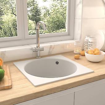 vidaXL kitchen sink with overflow white granite