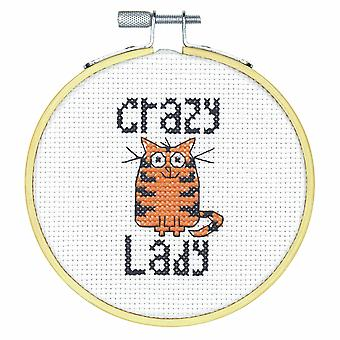 Dimensions Counted Cross Stitch Kit with Hoop: Crazy Cat Lady