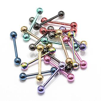Tongue ring 10 pack anodized nipple barbell surgical steel body jewelry 14g 16mm