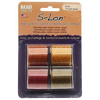 Super-Lon (S-Lon) Cord, Size 18, Four 77 Yard Spools, Spice Mix