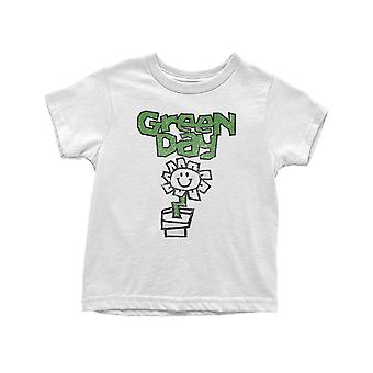 Green Day Toddler T Shirt Flower Pot Logo new Official White 12 months to 5 yrs
