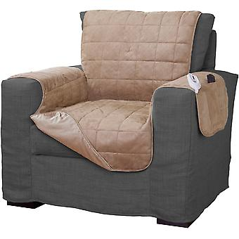 Serta Microsuede Electric Warming Furniture Protector Easy Care  Chair Protector Tan Camel