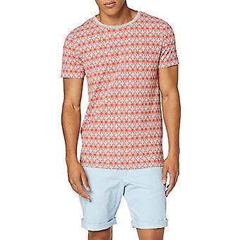 TOM TAILOR Denim 1010854 T-Shirt, Red (Red Geometrical Pr in 18285), Small Men