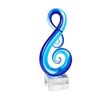 Tyylikäs vaaleansininen musikaali clef-lasiveistos