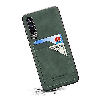 حقيبة جلدية مع فتحة بطاقة محفظة ل Huawei P30 Dark green