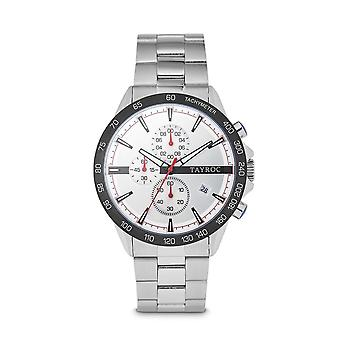 Tayroc hampton 44mm stainless steel chronograph watch white/silver