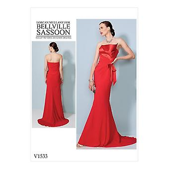 Vogue Sewing Pattern 1533 Misses Lined Evening Dress Size 6-14 Sin cortar