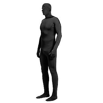 Xl svart hel bodysuit unisex spandex stretch vuxen kostym x4254