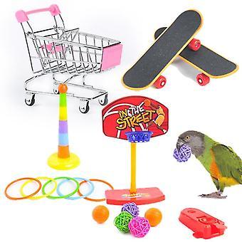 Interaktive Papageienausrüstung Set Vogelaktivität Papageien Spielzeug & Haustier Basketball