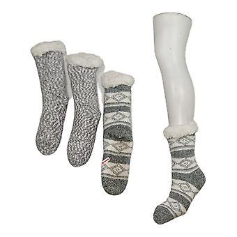 Cuddl Duds Women's Sherpa Lined Cabin Sock Set of 2 Gray A344017