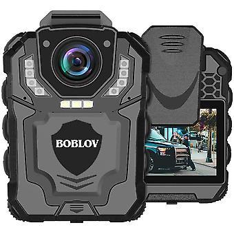 1296P vedenpitävä 2 LCD-runkokameraa, jotka tallentavat kannettavaa poliisikameraa, soveltuvat valaistukseen, yönäköön, silmukan tallennussovelluksiin (musta)