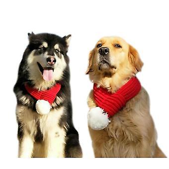 Haustier Weihnachtswolle Schal Medium & Großes Hundespeicheltuch, Größe: L