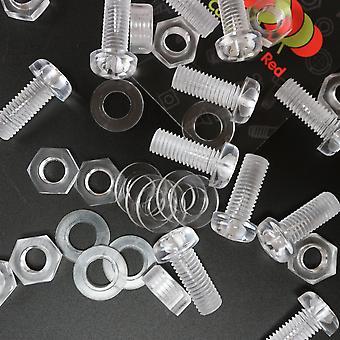 Pak van 10 transparante doorzichtige plastic acryl M8 x 20 mm moeren en bouten - acryl plastic schroeven, , ringen