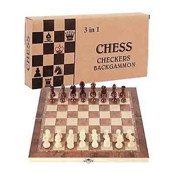 3 in1 Large Folding Wooden Chess Set Board Game Checkers Backgammon Draughts Toy