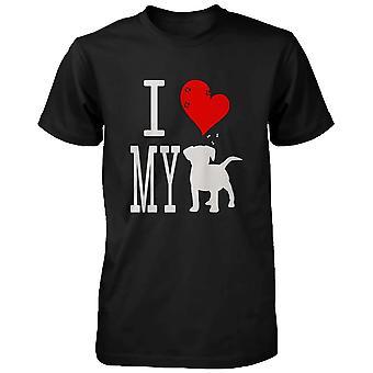 Söpö graafinen ilmoitus t-paita - rakastan minun koira musta hattu