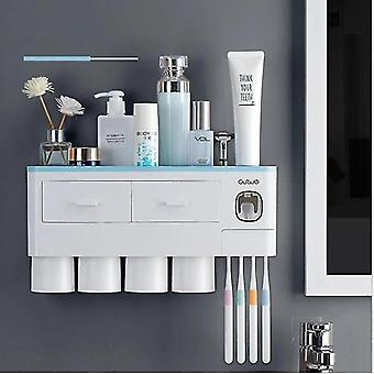 Toothbrush holders automatic toothpaste dispenser squeezer mount multi organizer cup 4 brush slots brush holder