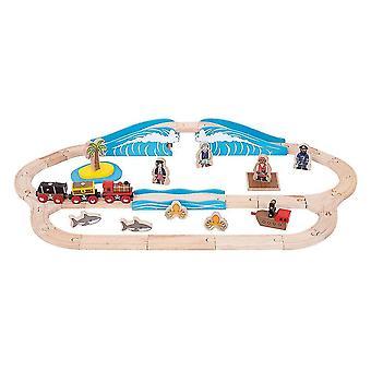 Toy trains train sets bigjigs rail wooden pirate train set - 42 play pieces