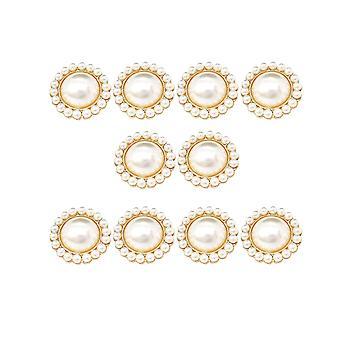 10pcs Blume geformtknöpfe Runde Perle Verschluss Legierung Kleidung Schnallen Kleidung Zubehör für Frauen (beige)