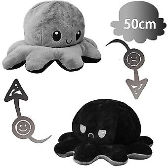 50cm Giant Reversible Octopus Stuffed Animal Reversible Happy Sad Octopus Plush Toy Show Your Mood Without Saying A Word! Black And Gray