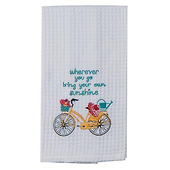 Yellow Bike Bring Own Sunshine Embroidered Waffle Kitchen Dish Towel