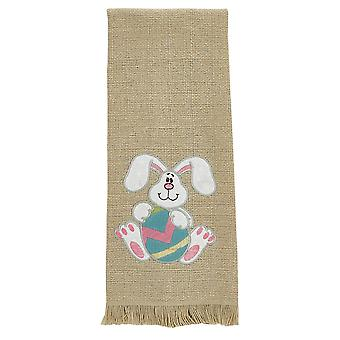 Floppy Ear Bunny Holding Easter Egg Appliqued Cotton Burlap Look Kitchen Towel