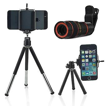 ONX3 (Black 8X Zoom) Universal Optical Magnifier Telescope Phone Camera Lens Kit, Manual Focus For Also Fit For Gionee S10