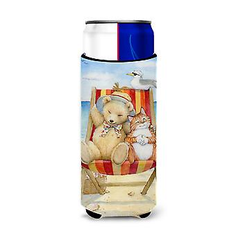 Summer Teddy Bear and Cat on Beach Ultra Beverage Insulators for slim cans