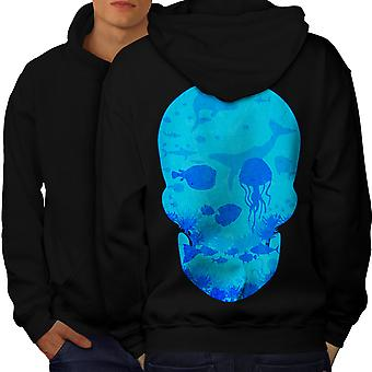Sea Ocean Water Skull Men BlackHoodie Back | Wellcoda