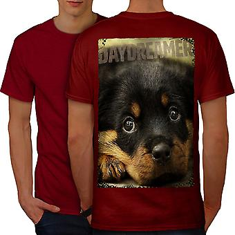 Daydreamer Puppy Cute Dog Men RedT-shirt Back | Wellcoda