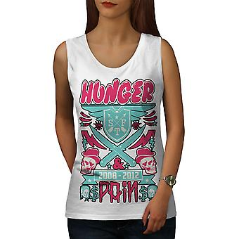 Hunger Pain Skull Food Women WhiteTank Top | Wellcoda
