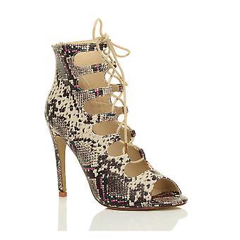 Ajvani Damen high Heels Gladiator ausgeschnitten eingesperrte Knöchel Sandalen Schuhe schnüren