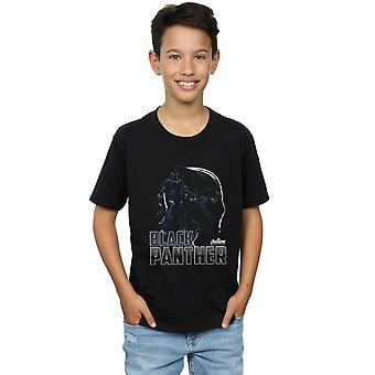 マーベル男の子アベンジャーズ無限戦争ブラック ・ パンサーの文字 t シャツ