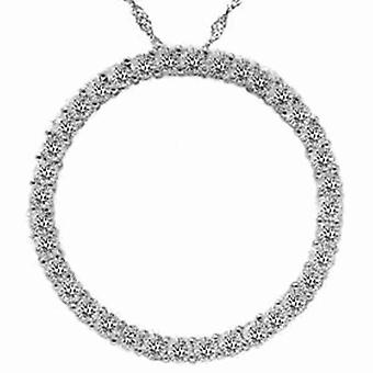 2.00CT ympyrä ikuisuuden 14K White Gold Diamond riipus