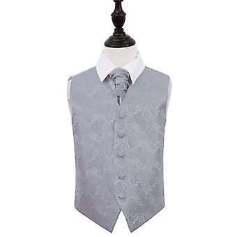 Sølv Paisley bryllup vest & Cravat sett for gutter